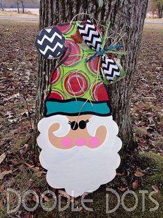 Santa Door Hanger Christmas Door Hanger by DoOdLeDotsAnDmOre, $30.00