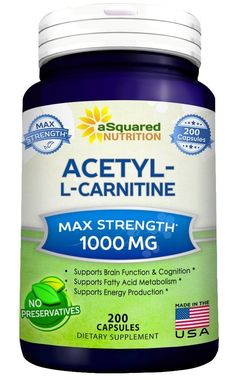 Pure Acetyl L-Carnitine 1000mg - 200 Capsules - ALCAR Supplement Pills.  Picture: eBay affiliate link.