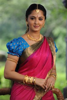 Teal Blue Cotton Silk Woven Saree with Golden Border Beautiful Girl Indian, Most Beautiful Indian Actress, Beautiful Saree, Beautiful Ladies, Anushka Shetty Saree, Anushka Shetty Bahubali, Actress Anushka, South Indian Bride, India Beauty