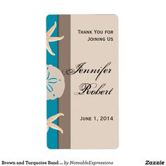 Brown and Turquoise Band Starfish Wine Label