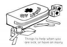 First Aid coloring page.  I attach a baggie of bandaids to go with this page in birthday folders.