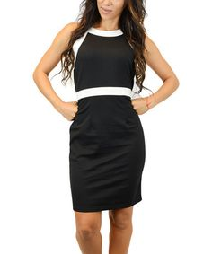 Another great find on #zulily! Black Contrast-Piping Bodycon Dress #zulilyfinds