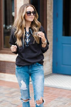 Lace Up Sweatshirt Refashion