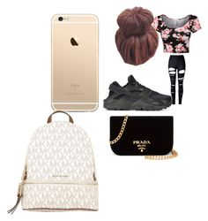"""school"" by pettyallthe on Polyvore featuring WithChic, NIKE, Prada and MICHAEL Michael Kors"