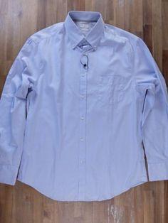 auth BRUNELLO CUCINELLI solid blue button-down cotton shirt - Size XXL - NWT