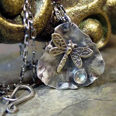 Unique artisan jewelry handmade with sterling silver, gold and hand cut gem stones. Dragonfly Necklace, Dragonfly Pendant, Pendant Necklace, Garnet Necklace, Metal Clay Jewelry, Jewelry Art, Jewelry Design, Gold Jewellery, Gemstone Jewelry