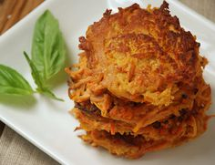 Sweet Potato Carrot Cakes - Didn't have any ginger but they were still great. Not gonna lie, I poured some maple syrup on mine and it was awesome!