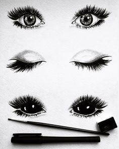 Creepy Sketches, Demon Drawings, Dark Art Drawings, Outline Drawings, 3d Drawings, Art Deco Tattoo, Creepy Eyes, Art Ideas For Teens, Demon Eyes