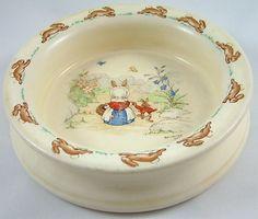 Early Royal Doulton Bunnykins baby bowl signed by Barbara Vernon - This is a heavy bowl to prevent tipping by the baby just learning to eat solid foods on their own...Bunnykins are still being made today but this style is not. I give Bunnykins dinnerware as new baby gifts in our family but I want one of THESE for myself. My brother and I had them as babies in the early 1950s.