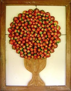 Pomegranates. Wood panel made of recycled wood from Oficina de Agosto, art studio from Minas Gerais.
