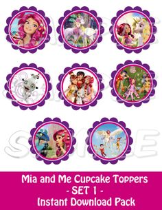 MIA AND ME PARTY Mia and Me  Cupcake Toppers  Set 1  PRINTABLE  by JustAddFrosting, $5.50