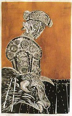 Toreando, 1968, xilocollage, 99 x 63 cm. Col. privada