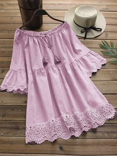 O-NEWE Fashion Off-Shoulder Lace Patchwork Shirts can cover your body well, make you more sexy, Newchic offer cheap plus size fashion tops for women. Chemise Fashion, Frock Fashion, Frock Design, Kurta Designs, Cute Dresses, Casual Dresses, Long Sleeve Vintage Dresses, Chic Outfits, Fashion Outfits