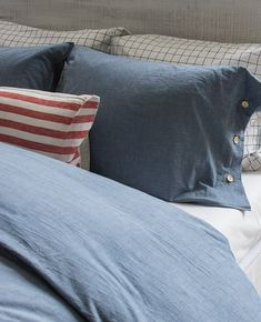 #bedroom #denim #jean #pillow #decor #accent #decorative #buttons #raw #rustic #comfy #cozy #minimalist #minimal #ideas #neutral #master #queen #king #pillows #arrange #fun #corky #best ##bedding #bedrooms #bedding #beautifulbeds #linens #madeincanada #home #homestyle #interiors #interiordesign #minimal #bedroominspo #lifestyle #bed Navy Bedding, Rustic Bedding, Neutral Bedding, King Pillows, Fine Linens, Bedroom Inspo, Kid Beds, Chambray, Accent Decor