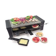 You love raclette but you also love pizza? Make your own mini pizzas with this raclette grill. It has a second heating element on the bottom to make tasty, crusty pizzas right on the table top. Only $139.95 at www.raclettecorner.com