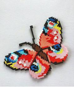 DIY Butterfly hama perler beads by sofiieg Hama Beads Design, Perler Bead Designs, Diy Perler Beads, Perler Bead Art, Pearler Beads, Fuse Beads, Art Minecraft, Skins Minecraft, Pearler Bead Patterns