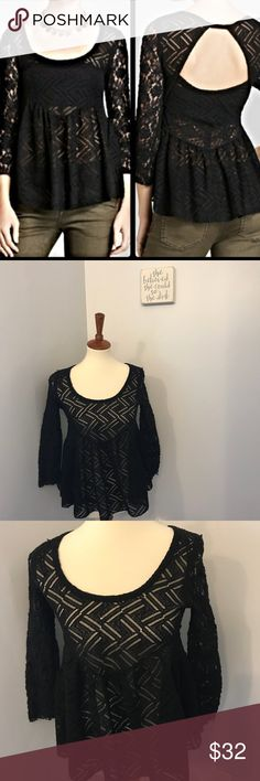 Free People crochet black peplum blouse tee Size xs. No trades or modeling. 15 inch bust and 22 inch length. Free People Tops Blouses