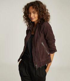 Dawn Bordeaux Suede Jacket – REISS Suede Jacket, Bomber Jacket, Red And Pink, Pink Purple, Reiss, Soft Suede, Bordeaux, Work Wear, Feminine