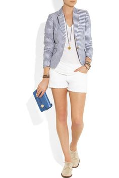 Preppy J.Crew Striped linen blazer with Lend casual looks a preppy appeal with J.Crew's striped linen blazer. Work head-to-toe collegiate cool by wearing this lightweight, cotton-lined style with white shorts