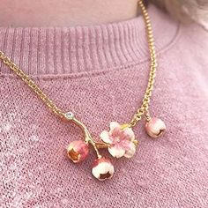 The Cherry Blossom Bud Necklace Cherry Blossom Jewelry, Cherry Blossoms, Gold Plated Necklace, Pearl Necklace, Stuff And Thangs, True Beauty, Jewelry Ideas, Wedding Stuff, Hand Painted