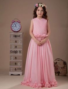Lovely Pink Sleeveless V-Neck Chiffon Flower Girl Dress