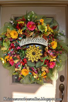 Colorful Spring Mesh Wreath