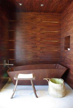 45 Stylish Wooden Bathroom Design Ideas: 45 Stylish Wooden Bathroom Design Ideas With Wooden Bathtub And Wooden Chair And Wooden Walls Design Wood Bathtub, Wooden Bathroom, Wood Tub, Stone Bathroom, Bathroom Mirrors, Remodel Bathroom, Wood Wood, Bathroom Cabinets, Bathroom Remodeling