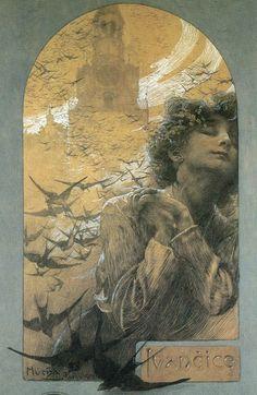 Memory of Ivancice Alphonse Mucha, art nouveau, Art Nouveau Mucha, Alphonse Mucha Art, Inspirational Artwork, Jugendstil Design, Illustrator, Ouvrages D'art, Art Et Illustration, Pics Art, Love Art