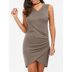 Ruched Mini Sheath Sleeveless Dress