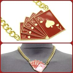 NEW ARRIVAL ALERT!!! Add swag on top of swag with this red and gold poker cards necklace. Available online now www.thefashionvaults.bigcartel.com