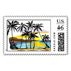 Palm Tree Background Stamp