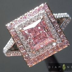 ITEM #: R6913. COLOR: Fancy Intense Purplish Pink.96ct Fancy Intense Purplish Pink SI2 Princess Cut Diamond Halo Ring. This is one of the top Fancy Intense Purplish Pink Diamonds on the market, a definite investment opportunity.   eBay!