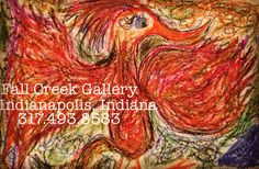 Fine art pop-impressionism oil pastels by Julie Hollis resident artist @ Fall Creek Gallery #fallcreekgallery #pastels #artist #popimpressionism #juliehollis #bird