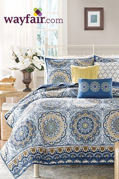This beautiful coverlet set has flowery pattern that adds to the room's overall looks. It is functional and is best for all decors. Get up to 70% off on Wayfair!