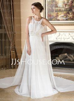 REAL-Wedding Dresses - $166.19 - A-Line/Princess Scoop Neck Watteau Train Chiffon Wedding Dress With Ruffle Beadwork (002012135) http://jjshouse.com/A-Line-Princess-Scoop-Neck-Watteau-Train-Chiffon-Wedding-Dress-With-Ruffle-Beadwork-002012135-g12135