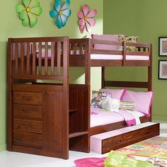 Merlot Staircase Mission Bunk Bed Twin/Twin | Factory Bunk Beds