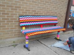 Yarnbombing at the Houston (MN) Public Library