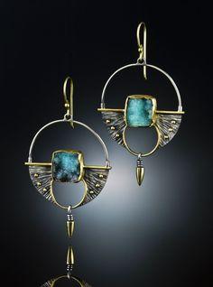 Earrings | Amy Buettner  Tucker Glasow Studio.   Druzy Chrysocolla, Sterling Silver  18k gold