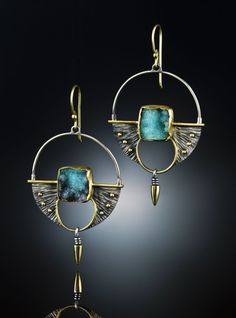 Earrings | Amy Buettner  Tucker Glasow Studio.   Druzy Chrysocolla, Sterling Silver  18k gold