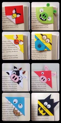 Super cute and quickly made corner bookmarks More origami bookmark - Popular Tinker 2019 Creative Bookmarks, Corner Bookmarks, Bookmarks Kids, Handmade Bookmarks, Paper Bookmarks, Kids Origami, Paper Crafts Origami, Origami Art, Easy Oragami For Kids