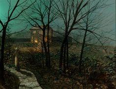 "John Atkinson Grimshaw (1836-1893), ""Woman on a Path by a Cottage"" (1882)"