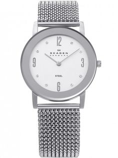 Save 16% - Now £108.00  Skagen ladies steel bracelet watch, - Stainless steel. Expandable Bracelet. Stone Set. Round White Dial.