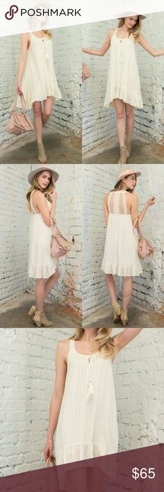 Flowy  dress with lace detail back This one is gorgeous! Easy, loose fit. Cream color. 100% rayon. April Spirit Dresses