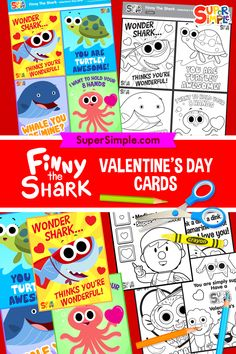 Color in some free printable Finny the Shark Valentine's Day cards! Valentines Day Activities, Valentines For Kids, Valentine Day Cards, Activities For Kids, Simple Crafts, Easy Crafts For Kids, Easy Diy Crafts, Printable Cards, Free Printable