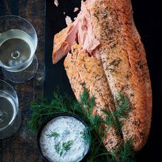Whole Wild Salmon Fillet with Mustard Sauce - AOL Food Salmon Dishes, Fish Dishes, Seafood Dishes, Fish And Seafood, Salmon Food, Salmon Recipes, Fish Recipes, Seafood Recipes, Cooking Recipes