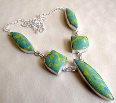 Blue Jasper Necklace, Green Statement Necklace, Gemstone Necklace, Bib Necklace, Silver Necklace