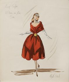Living In Fifties Fashion Edith Head Designed Costume for Elizabeth Taylor in A Place in the Sun 1951 Academy Award Winner for Best Costume Design in Black in White Vintage Fashion Sketches, Illustration Mode, Fashion Illustration Sketches, Art Illustrations, Mode Hollywood, Hollywood Fashion, Fashion History, Fashion Art, Fashion Design