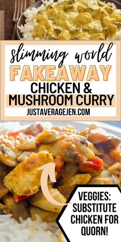 A Slimming World Chicken and mushroom curry recipe (incl Quorn option) Mushroom Curry, Mushroom Chicken, Slimming World Chicken Dishes, Frozen Vegetables, Veggies, Slimming World Curry, Chinese Fakeaway, Vegetarian Chicken, Speed Foods