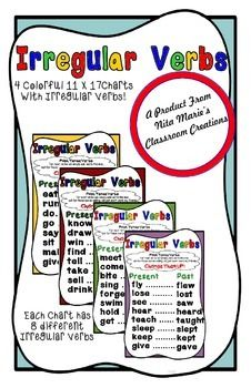 A FREEBIE from Nita Marie's Classroom Creations!!  This packet contains four 11x17 charts with irregular verbs that I plan on using with my second grade students.  Each of the colorful charts has 8 different irregular verbs in present and past tense.  While I created these so that my students can learn their irregular verbs, I also use these as a transition tool in my classroom.