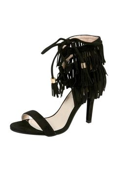 "Vegan suede open toe high heel sandal booties with triple fringe layered ankle strap and tie front. Features cushioned footbed for comfort. Approx 3.25"" heel.  Suede Fringe Heels by BRANDED. Shoes San Diego, California"